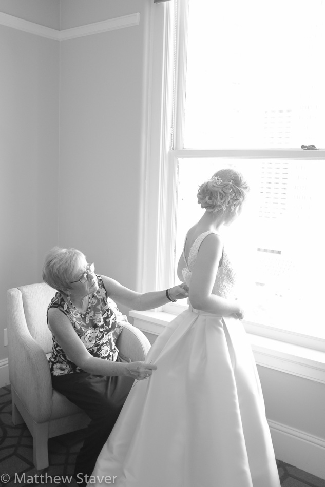 An example of a black and white wedding photograph by Denver, Colorado based wedding photojournalist, Matthew Staver.